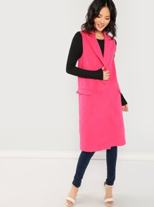 Neon Pink Tie Waist Tweed Vest Coat