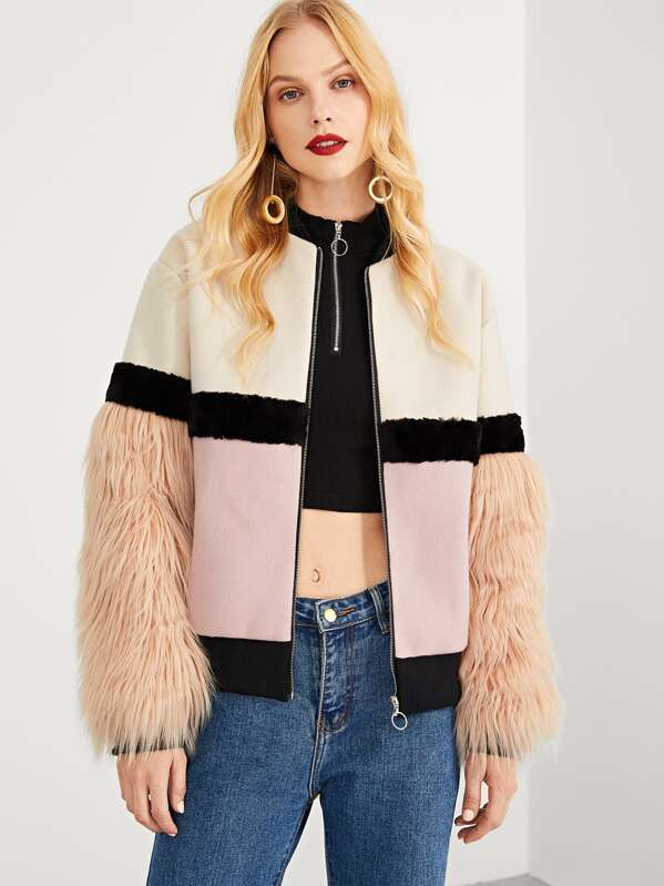 513d3bee8c Zip Up Faux Fur Sleeve Plaid Notched Coat | SHEIN
