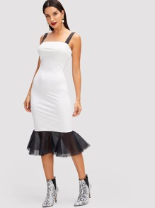 Contrast Strap and Mesh Hem Dress