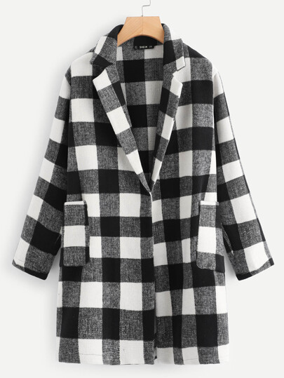 Plus Notch Collar Buffalo Plaid Coat