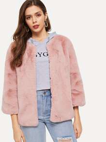 Open Front Solid Faux Fur Coat