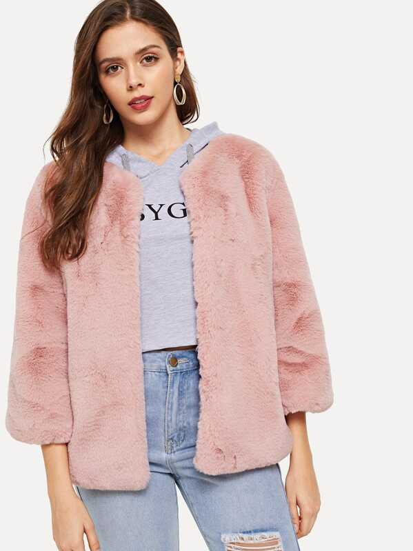 753eedc53a Cheap Open Front Solid Faux Fur Coat for sale Australia | SHEIN