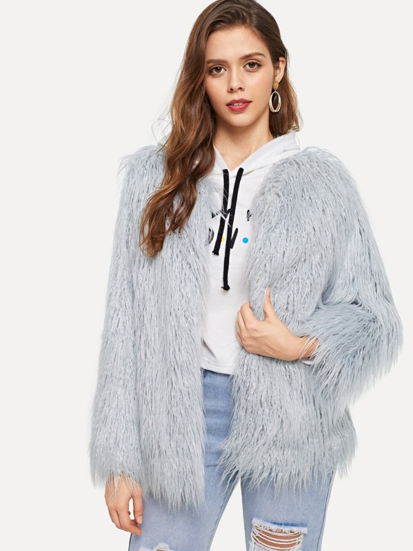 e691fe783d Open Front Solid Faux Fur Teddy Coat | SHEIN