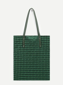 Gingham Tote Bag With PU Handle