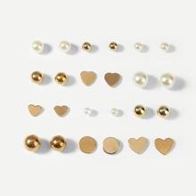 Faux Pearl Stud Earrings 12pairs