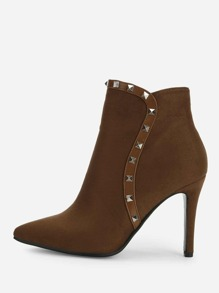 Rivet Detail Point Toe Ankle Boots