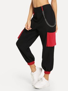 Chain Embellished Two Tone Pants