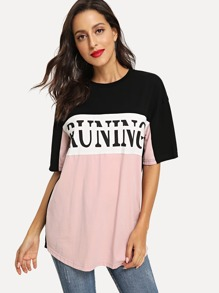 Letter Print Color Block T-shirt