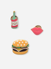 Food & Lip Brooch Set 3pcs