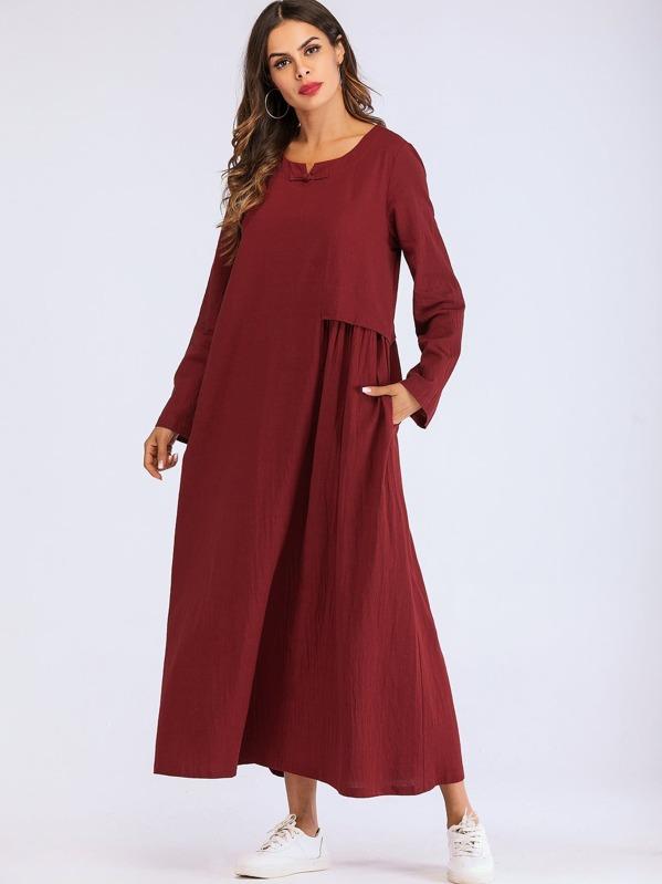 Pleated Contrast Longline Dress by Sheinside