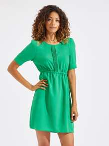 Neon Lime Lace Insert Puff Sleeve Dress