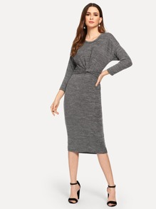 Twist Front Solid Dress