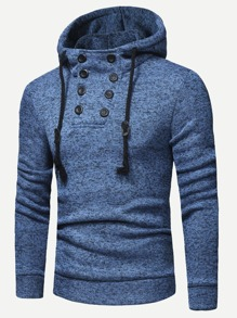 Men Button Detail Solid Hoodie