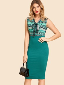 Knot Front Patchwork Dress