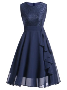 Contrast Lace Ruffle Trim Dress