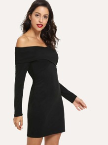 Off Shoulder Solid Dress