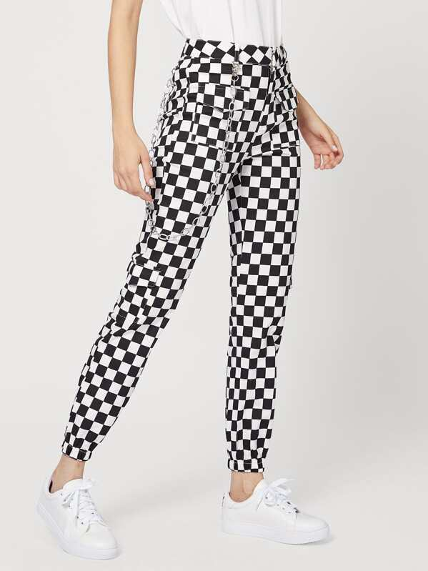d118655213 Checkerboard Pants With Chain