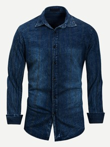 Men Solid Denim Shirt