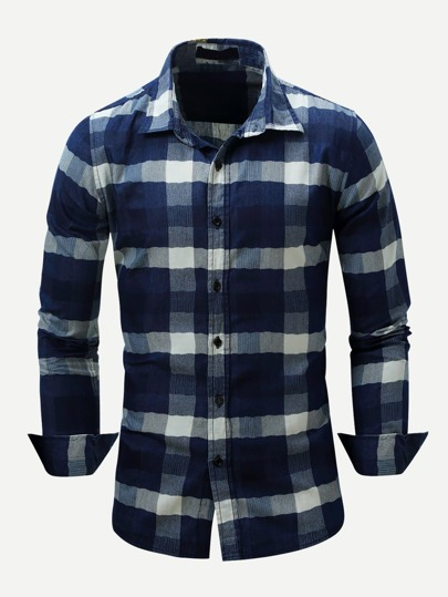 Men Plaid Curved Hem Shirt