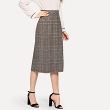 Zip Back Plaid Skirts