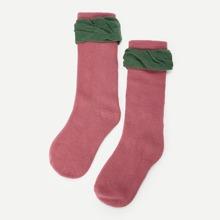 Kids Contrast Trim Calf Length Socks