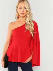 Asymmetrical Neck Peplum Top