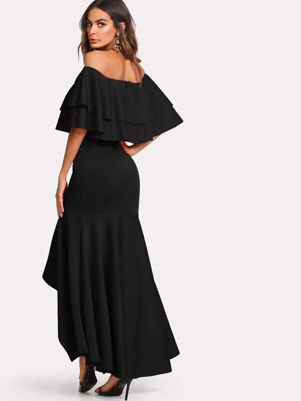 56036204b5 Tiered Flounce Fishtail Bardot Prom Dress