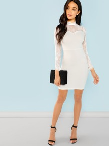 Lace Contrast Mock Neck Dress