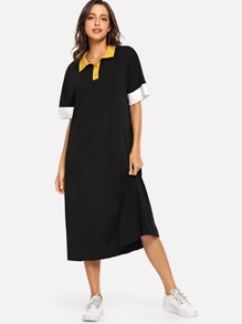 Button Front Collar Neck Tunic Dress