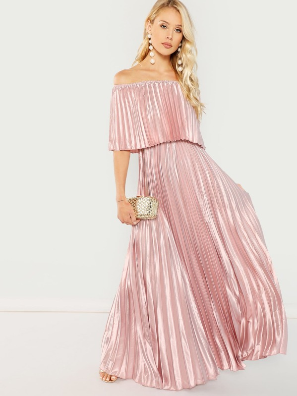 27877ca9ec6f Off Shoulder Pleated Maxi Prom Dress | SHEIN