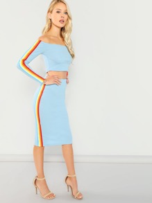 Stripe Side Ribbed Bardot Top & Skirt Set