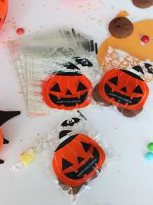 Halloween Pumpkin Print Flat Pocket 100pcs