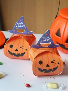 Halloween Pumpkin Box With Hat Handle 10pcs