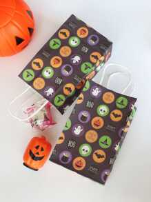 Halloween Pumpkin Lantern Print Paper Bag 5pcs