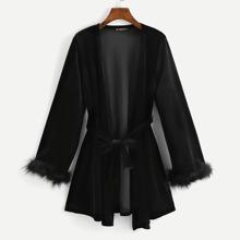 Image of Faux Fur Cuff Velvet Longline Coat