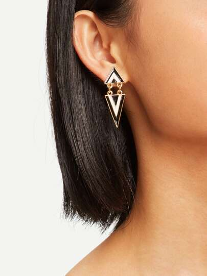 Double Triangle Shaped Drop Earrings 1pair