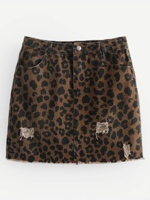 Leopard Ripped Raw Hem Denim Skirt