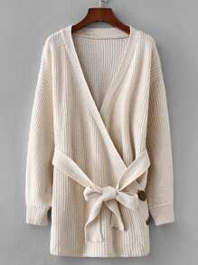 Self Tie Button Detail Wrap Sweater