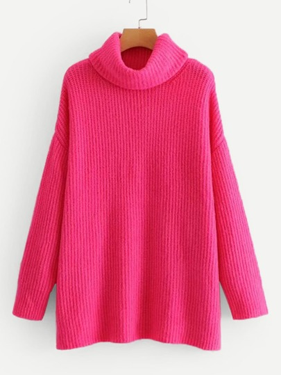 Neon Pink Turtleneck Drop Shoulder Sweater