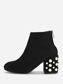 Faux Pearl Decorated Heel Boots