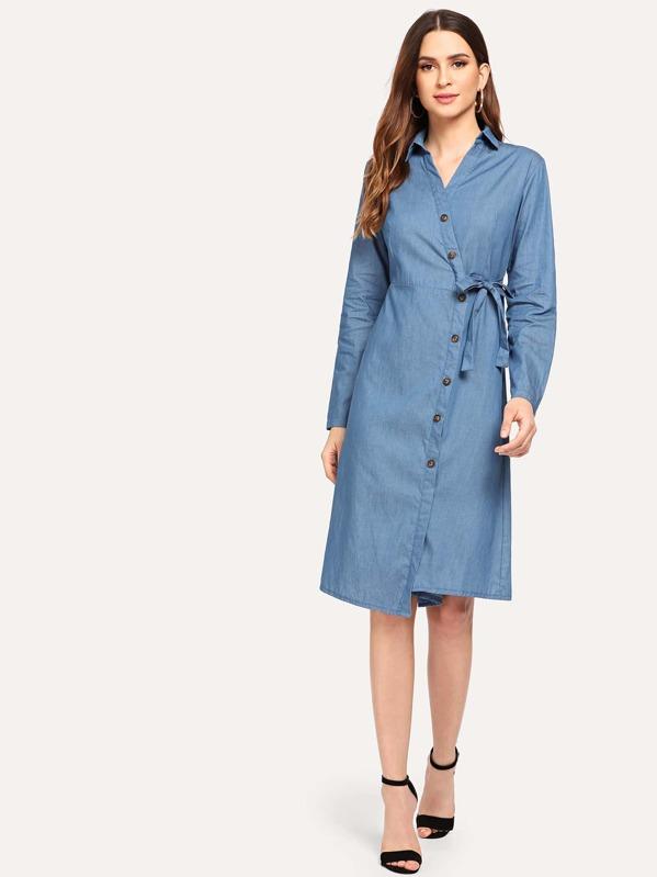9df741d947fedff Джинсовое платье с украшением пуговицы и банта | SHEIN