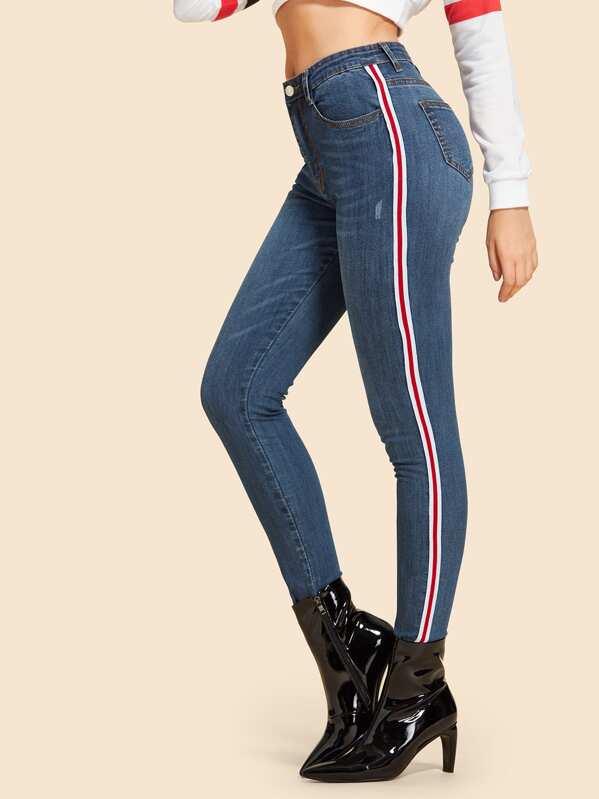 339eab086a Contrast Striped Tape Side Jeans   SHEIN UK