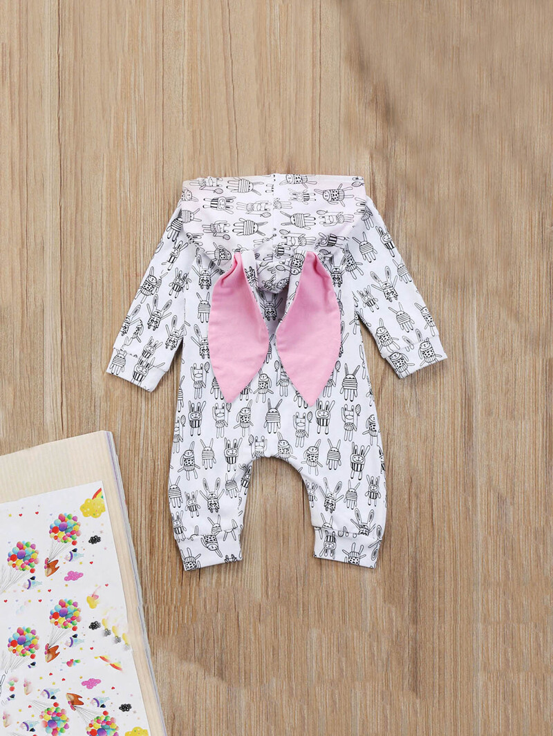 Sabei Baby Girl Boy Clothes Black Cat Vs White Rabbit Bodysuit Romper Jumpsuit Outfits Baby One Piece Long Sleeve