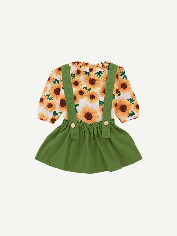 886404a27a53d Toddler Girls Sunflower Print Tee With Pinafore Skirt | SHEIN