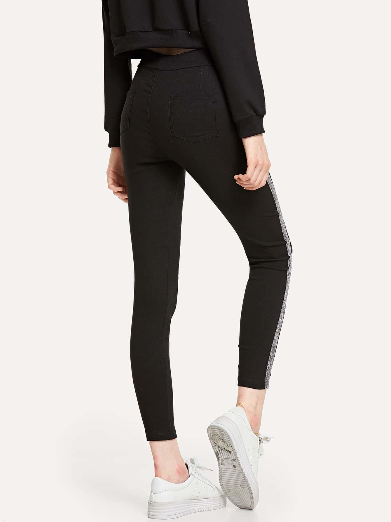 pantalon moulant avec bande sur le c t romwe. Black Bedroom Furniture Sets. Home Design Ideas