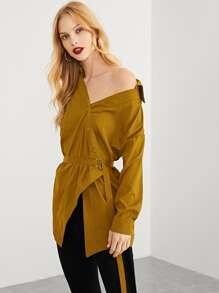 Asymmetrical Hem Solid Blouse