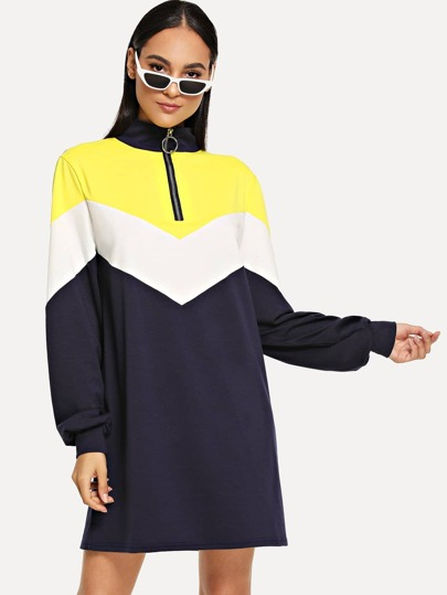 Half Zipper Placket Chevron Sweatshirt Dress