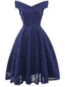 Foldover Bardot Lace Flare Prom Dress