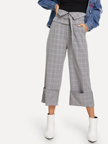 Wide Leg Plaid Pant