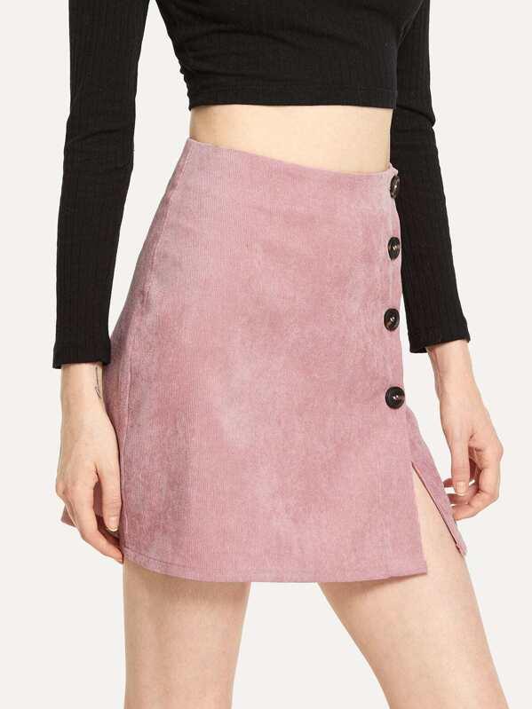 f80ffa704 Minifalda de pana con botones